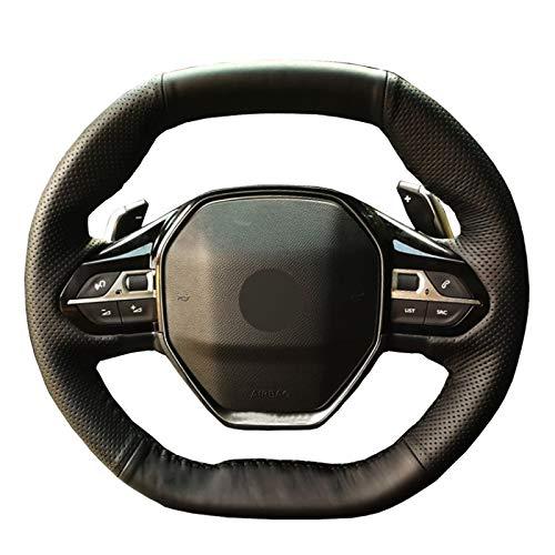 NsbsXs para Peugeot 3008 4008 5008 2016 2019508208 2019 2020 e 208 2020 Negro PU Cosido a Mano Cubierta del Volante del Coche