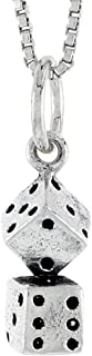 Sterling Silver Dice Charm, 19/32 inch tall