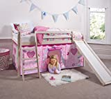 Noa and Nani - Midsleeper Cabin Bed with Slide and Fairies Tent - (Whitewashed Pine)