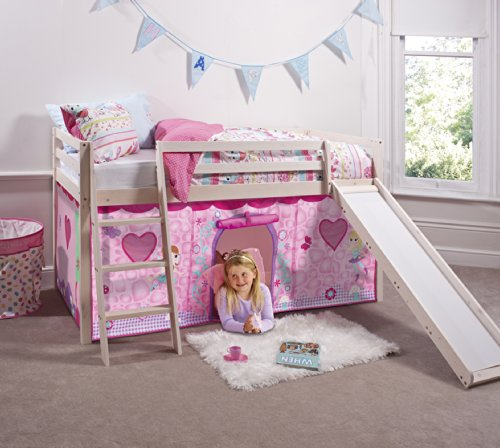 Whitewashed Pine Tunnel Noa and Nani Midsleeper Cabin Bed with Fairies Tent Tower and Bed Tidy -