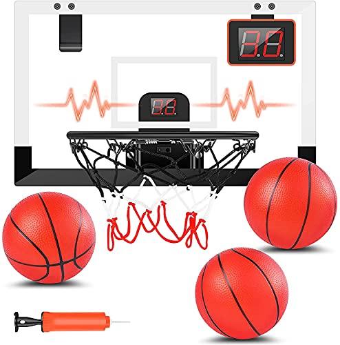 STAY GENT Mini Canestro Basket Kit con Elettronico Punteggio Record per Bambini e Adulti, Tabellone Basket da Camera Ufficio Indoor Parete Montato con 3 Palla, Sportivi Set Regalo per Ragazzi Ragazze