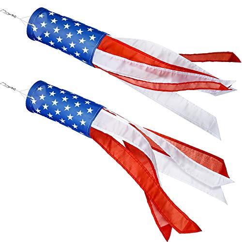 Boao 2 Pezzi Americano US Bandiera Manica a Vento Colorato Arcobaleno Appeso Decorazione Patriottico Manica a Vento Materiale Impermeabile per Appendere Esterno, 24 Pollici(Stelle e Strisce)