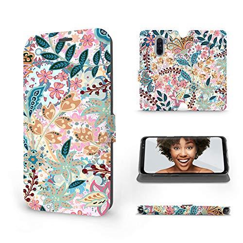 Mobiwear | Slim FLIP Hülle | Kompatibel mit Xiaomi Pocophone F1, Made in EU handyhülle, Premium Schutzhülle, Transparent TPU Silicon, Book Style Hülle, Tasche - Pink Flora