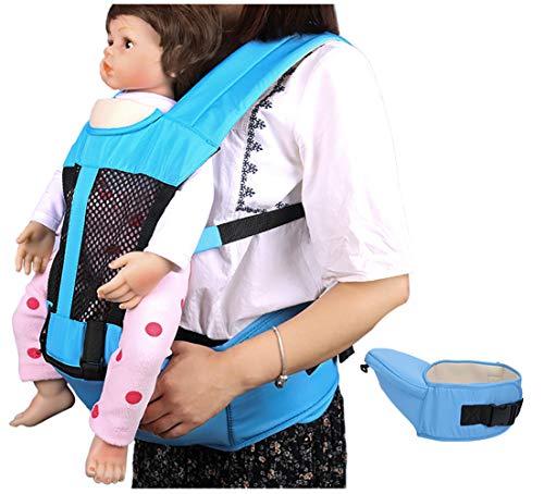 KSWX Porta Bebè Cinturino Traspirante Multifunzionale per Sgabello in Vita per Bambini Adatto per Gite in Famiglia e Regali,Sky-Blue
