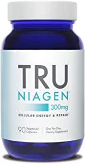 TRU NIAGEN NAD+ Booster for Cellular Repair & Energy Metabolism (Nicotinamide Riboside) - 300mg Vegetarian Capsules, 300mg Per Serving - 90 Day Bottle