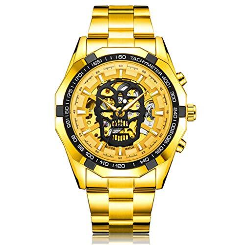 Gnaixyc Steampunk Reloj mecánico automático militar militar, correa de acero inoxidable luminosa cráneo esqueleto relojes de pulsera, C, L