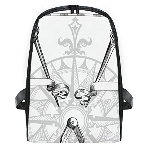 ELIENONO Altes Teiler-Kompass-Meter-Messgerät,Laptop Rucksack für Männer Schulrucksack Multifunktionsrucksack Mini Tagesrucksack für Schule Wandern Reisen Camping