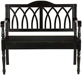 Entryway Granbury Bench - Ornate Wood Frame - Antique Black Finish