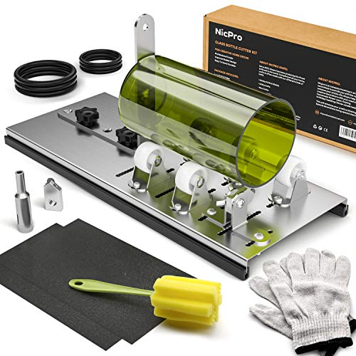 Nicpro Glass Bottle Cutter Kit,DIY Cutting Machine Tool for Wine/Beer/Whiskey Bottles with Gloves Fixing Ring