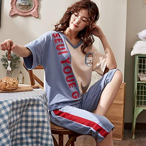 XUHRA Vrouwenpyjama, woonkleding voor vrouwen nachtkleding korte mouwen set zomer 4XL pyjama pyjama's dames pyjama plus size pyjama voor meisjes