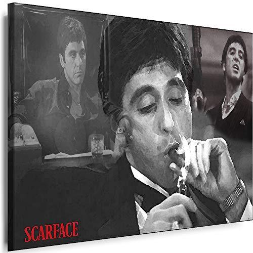 Myartstyle - Bilder Scarface 60 x 40 cm Leinwandbilder XXL - 1 Teilige Wandbilder Film Popular Movies Kunstdrucke w-P-2020-109
