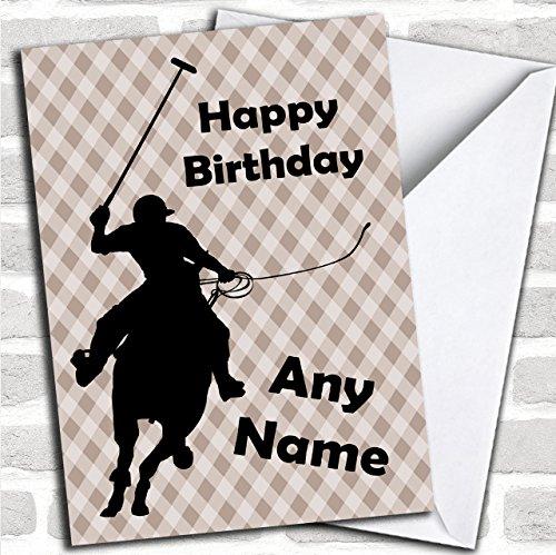 Polo Speler Paard Silhouette Aangepaste Verjaardag Groeten Kaart- Verjaardagskaarten/Dieren, Wildlife & Huisdieren Kaarten