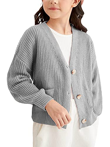Girls Boys Cardigan Sweater School Uniforms Button Down Knit Long Sleeve Warm Outerwear Sweaters Tops for Toddler Kid Gray
