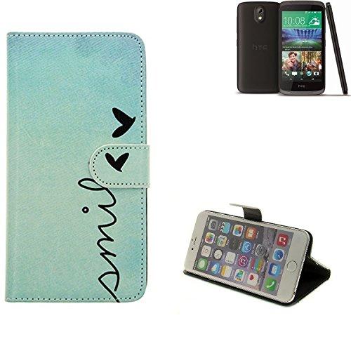 K-S-Trade Schutzhülle Kompatibel Mit HTC Desire 526G Dual SIM Hülle Wallet Case Flip Cover Tasche Bookstyle Etui Handyhülle ''Smile'' Türkis Standfunktion Kameraschutz (1Stk)