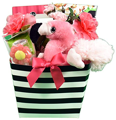 Gift Basket Village Perfect Paradise, Gift Basket, A Tropical Themed Gift Basket With Refreshing Cookies, Tropical Treats & Plush Flamingo Friend, Small