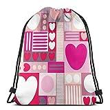 ERTERT Pink Heart Drawstring Bag Mochila de cuerda resistente al agua Bolsa de gimnasio portátil duradera Paquete de cincha de poliéster suave para niños Trabajadores Campistas Ejercitadores Deportis