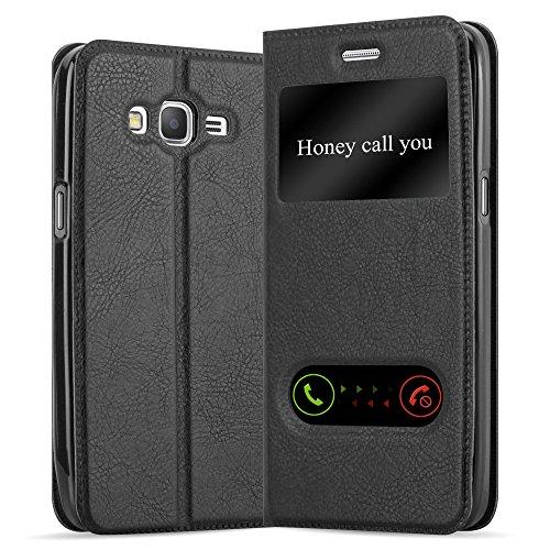 Cadorabo Hülle für Samsung Galaxy Grand Prime in KOMETEN SCHWARZ – Handyhülle mit Magnetverschluss, Standfunktion & 2 Sichtfenstern – Hülle Cover Schutzhülle Etui Tasche Book Klapp Style