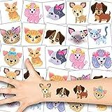 German Trendseller 12 x Niedliche Haustier Tattoos - Tattoo temporär ┃ Cute Cats and Dogs ┃ Hunde und Katzen Hautsticker ┃ Kindergeburtstag ┃ Mitgebsel ┃ Geschenkidee ┃ 12 Tattoos