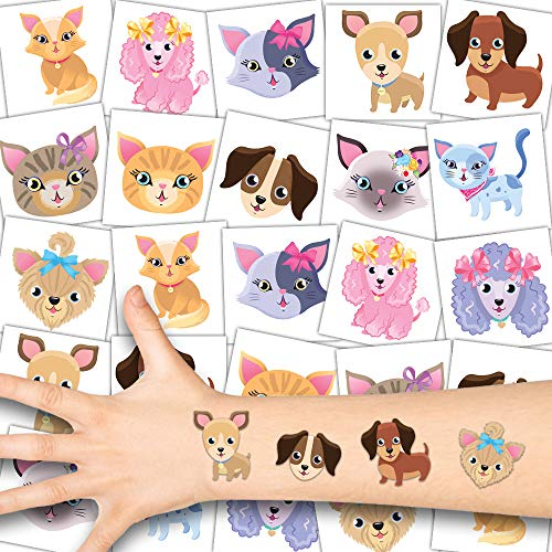 German Trendseller® 12 x Niedliche Haustier Tattoos - Tattoo temporär ┃ Cute Cats and Dogs ┃ Hunde und Katzen Hautsticker ┃ Kindergeburtstag ┃ Mitgebsel ┃ Geschenkidee ┃ 12 Tattoos