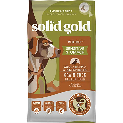 Solid Gold - Wild Heart with Natural Quail, Chickpea & Pumpkin - Grain Free & Gluten Free - Probiotic Support for Sensitive Stomachs - Holistic Dry Dog Food For Adult Dogs - 24lb Bag
