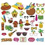 Xiangmall 34 Piezas Accesorios para Fotos Hawaiana Divertido Photo Booth Props Luau Decoraciones para Tropical Playa Piscina Fiestas (34)