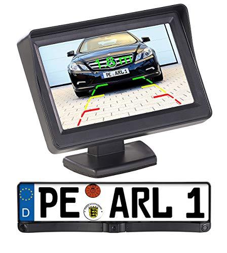 Lescars Einparkhilfe kabellos: Funk-Rückfahrkamera in Nummernschildhalter m. Monitor & Abstandswarner (Rückfahrkamera Funk Nummernschild)