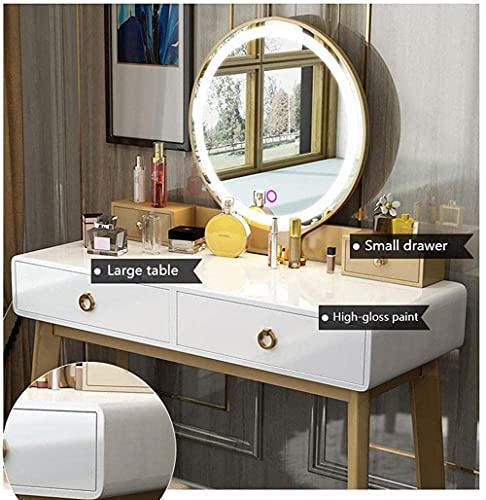 N&O Renovation House Schminktisch Set Schminktisch mit ovalem Spiegel und Hocker Schlafzimmer Holz Schminktisch mit 4 Schubladen Weiß 80 100x40x76cm Ohne Lautsprecher