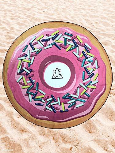 BE CRAZY THE BRAND Toalla de Playa Microfibra Forma de Donuts - Poliéster y Nylon, 149cm Diámetro.