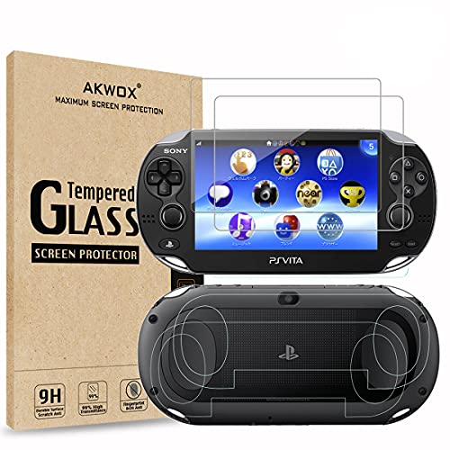 (4-Pack) 2 Front+2 Back Covers Screen Protectors for Sony PlayStation Vita 1000, Akwox 9H Tempered Glass Front Screen Protector and HD Clear PET Back Screen Protective Film for PS Vita PSV 1000