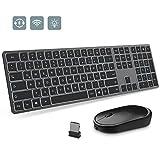 Jelly Comb Beleuchtete Tastatur mit Maus Set, 2.4G Kabellose Wiederaufladbare Ultraslim Funktastatur und Funkmaus für Windows PC, Laptop, Smart TV, Grau