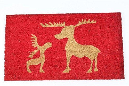 XGBDTJ Fußmatte Schuhabtreter Kokos Rot Beige Elche Weihnachtsmatte Fußmatte Täglich Unikat Ornament Retro Elegant rutschfest Fußabtreter (Color : Colour, Size : Size)
