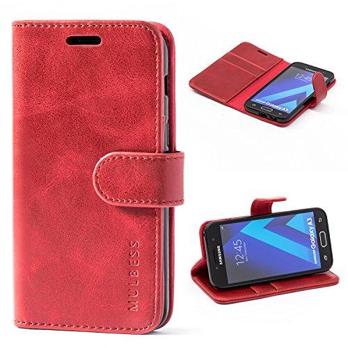 Mulbess Handyhülle für Samsung Galaxy A3 2017 Hülle, Leder Flip Case Schutzhülle für Samsung Galaxy A3 2017 Tasche, Wein Rot