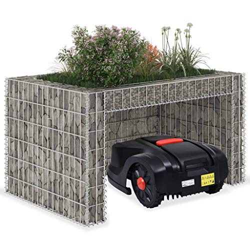 Unfade Memory Lawn Mower Garage with Raised Bed, Steel Wire Gabion Basket Stone Cages 43.3'x31.5'x23.6'