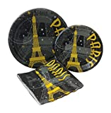 Paris at Night Party Bundle with Paper Plates and Napkins for 8 Guests