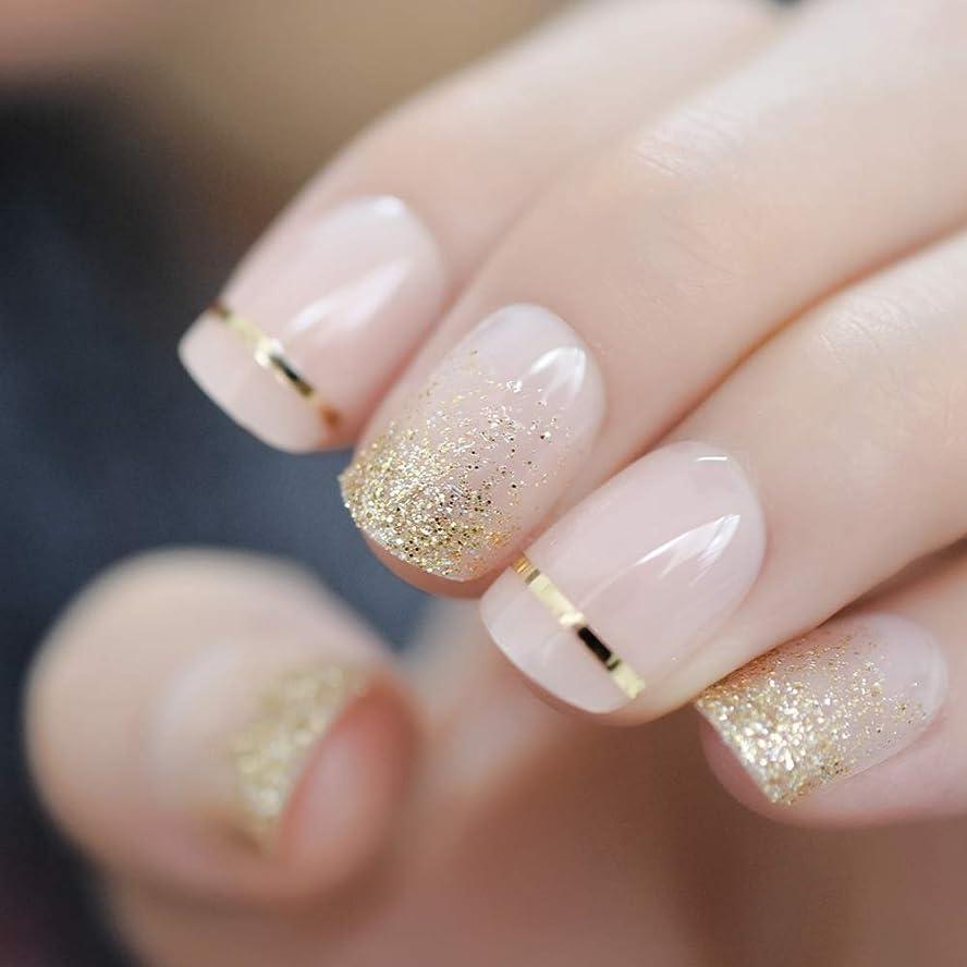 飢え収束洞察力のあるXUTXZKA ファッションショートネイルのヒント偽の爪ゴールドキラキラ人工プレス偽の爪に飾られたフルカバー