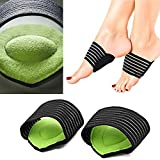 Arch Support Compression Plantar Fasciitis Extra Thick Cushioned Arch Support Sleeves for Men and Women by JERN - Flat Feet Pain Relief, Achy Foot Support Insoles, Fallen Arches, Heel Spur (1 Pair)