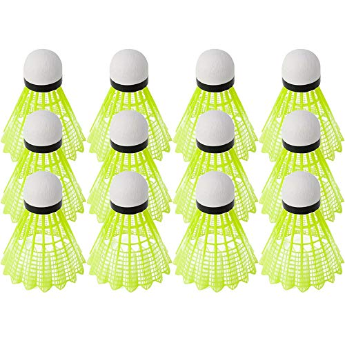 shihao159 3/6/12Pcs Stabil Sport Dauerhaft Kunststoff Badminton Shuttlecocks Nylon Training Bälle Feder Ball Federball für Outdoor & Indoor(12 pcs)
