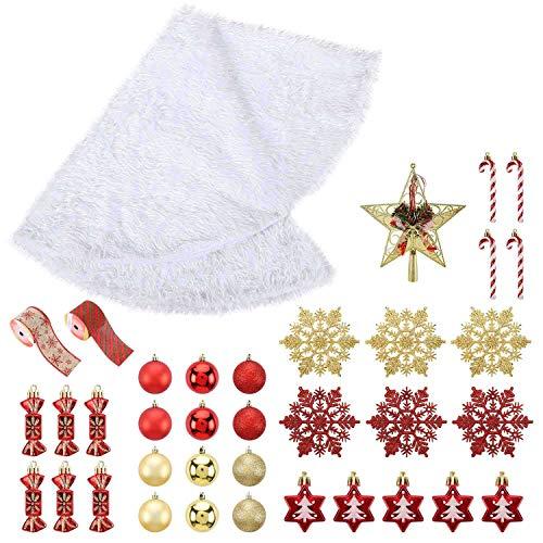 A ANLEOLIFE Full Set of Christmas Tree Skirt Kit with 30 Hanging Ornaments and Topper Star, Bonus Felt Burlap Ribbons (Xmas Tree Skirt Decor)