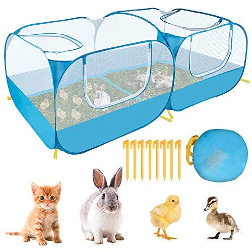 SlowTon Laufstall für Kleintiere, tragbarer großer Hühnerstall mit atmungsaktiven transparenten Maschenwänden Faltbares Haustierkäfigzelt ohne Boden mit 4 Reißverschlusstüren Welpen-Kätzchen-Kaninche