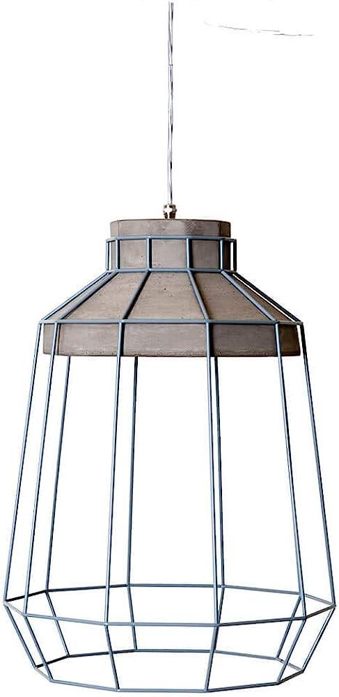 Karman settenani biancaluce, lampada a sospensione con gabbia,in cemneto e acciaio SE688N7