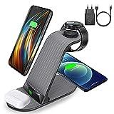 Estación de carga inductiva 4 en 1, cargador inalámbrico rápido, 15 W, compatible con iPhone 12/11 Pro Max/XS/XR/X/8, Samsung S20/S20+/S10, Huawei, Galaxy Watch, AirPods, Samsung Buds