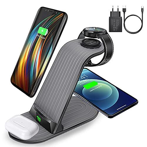 Caricabatterie Senza Fili,15W Caricatore Wireless, 4 IN 1 Caricatore a Induzione compatibile con iPhone 12/11/XS/XR/8/AirPods, Docking Station per Samsung S20/S10/watch/ Buds con Adattator 18W QC 3.0