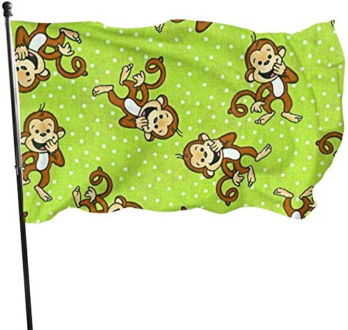 Lsjuee Garden Flag Welcome Party Outdoor Outside Decorations Ornament Picks Home House Garden Yard Decor 3 X 5 Ft Green Clever Monkey Garden Flag Yard Flag