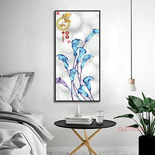 hetingyue Frameless home decor poster en print kunst paarse en blauwe bloemen canvas schilderij woonkamer muur foto