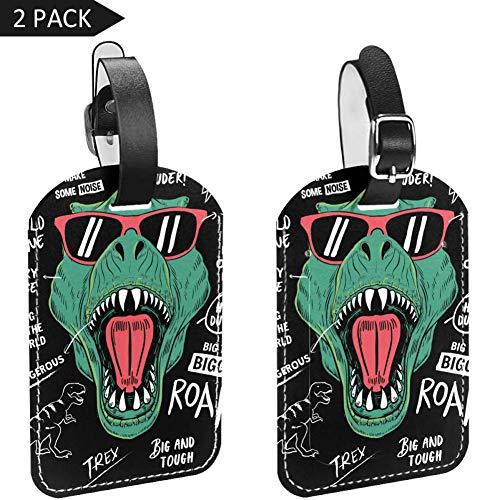 LORVIES Dinosaurio con frases frescas para equipaje, etiquetas de viaje, etiquetas de nombre, tarjeta para maleta de equipaje, 2 unidades