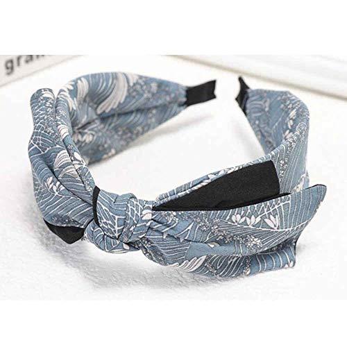 Hlnaughty Retro Strik Haarband Voor Vrouwen Haaraccessoires Big Bow Hoofdband Print Volwassenen Hoofdband HoofdbandVrouwen Haar Hoepel Bow-_Blue