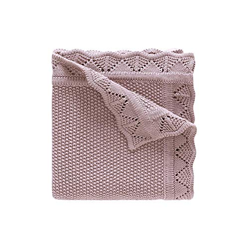 LAT Babydecke aus 100% Bio Baumwolle Baby Strickdecke 80 x 100 cm Kuscheldecke Vielseitig Nutzbare Wolldecke als Kinderwagendecke, zum Pucken, Erstlingsdecke, Wolldecke für Jungen und Mädchen(Rose)
