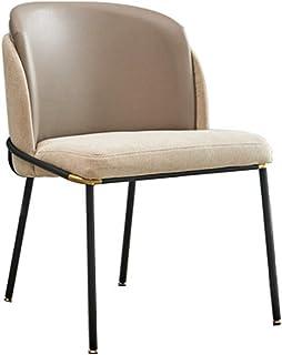 Decoración de muebles Sillas de comedor Elegante silla de comedor Soporte de respaldo medio Silla tapizada de ocio moderna con patas de metal para sillas de restaurante de cocina (Tamaño del color:
