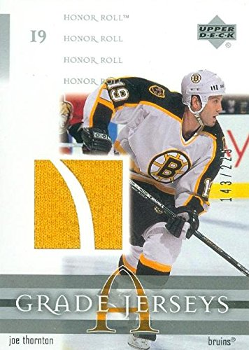 Autograph Warehouse 365392 Joe Thornton Player Worn Jersey Patch Hockey Card - Boston Bruins 2002 Upper Deck Honor Roll No.JJT