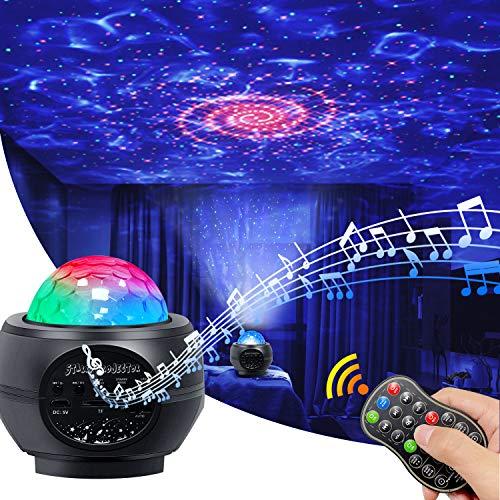 LED Sternenhimmel Projektor,Cshare Nachtlicht Galaxy Projektor,Starry Light mit Fernbedienung/Rotierende Wasserwellen/Farbwechsel Musikspieler /Ozeanwellen Für Party Bar Deko Schlafzimmer Geschenke.
